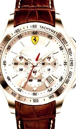 Ferrari Scuderia Silver Dial Chronograph Brown Leather Mens Watch FE-07-ACC-CP-SL