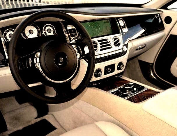Interior Front Seat of a Rolls Royce
