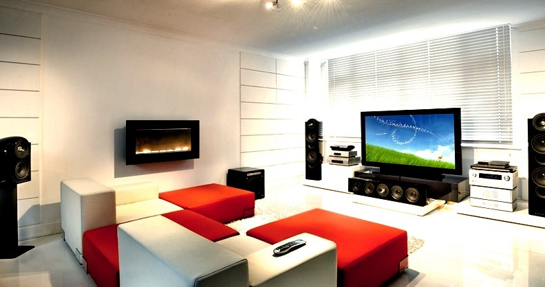 Modern Luxury Living Room and Entertainment Center