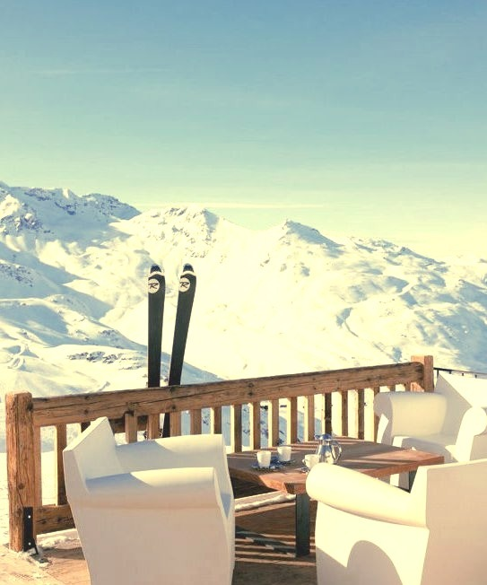 No better place for winter sunbathing than on mountain sun.